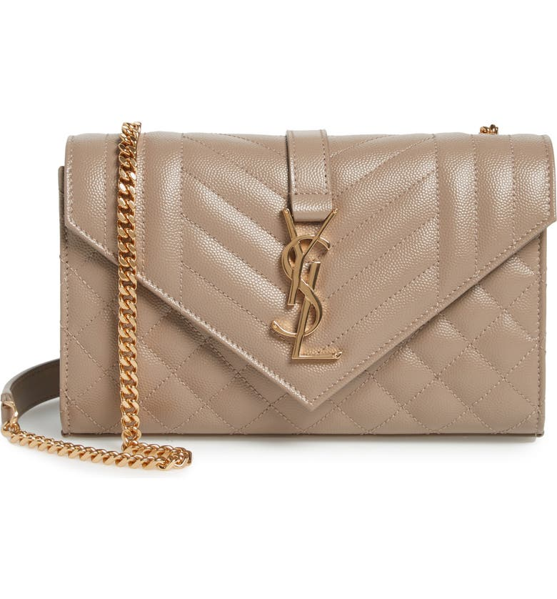 SAINT LAURENT Small Envelope Leather Shoulder Bag, Main, color, DUSTY GREY