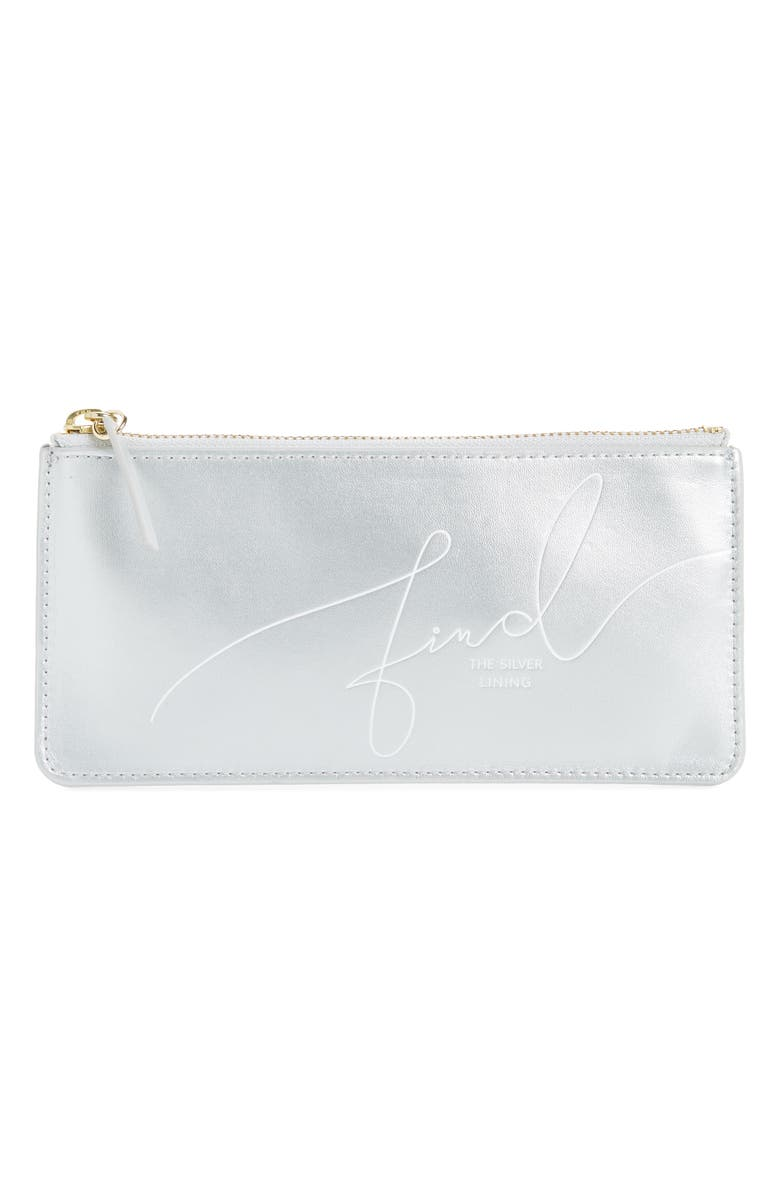 ANTHROPOLOGIE HOME Find the Silver Lining Pencil Pouch, Main, color, SILVER