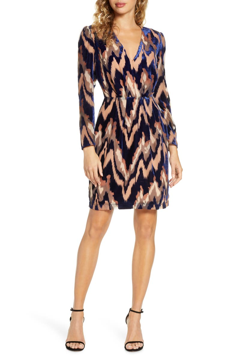 HARLYN Velvet Burnout Long Sleeve Cocktail Dress, Main, color, TAUPE/ NAVY