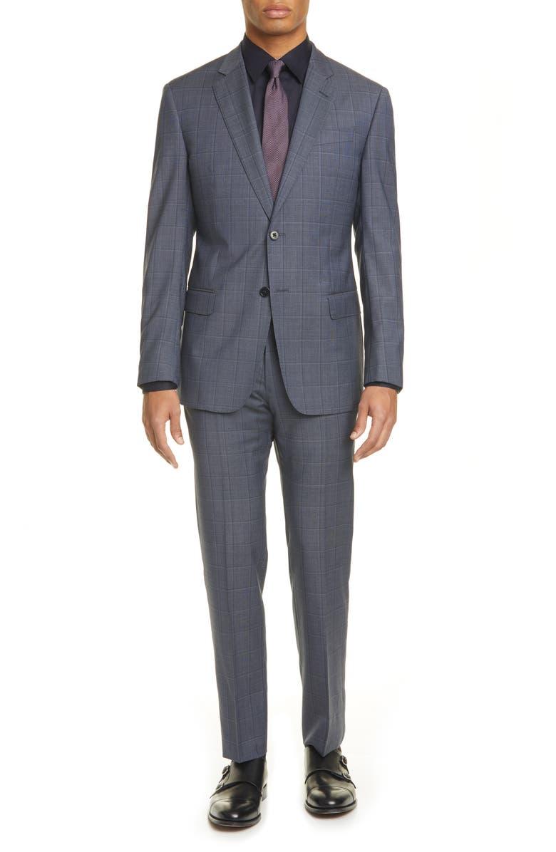 EMPORIO ARMANI G Line Trim Fit Windowpane Wool Suit, Main, color, GREY