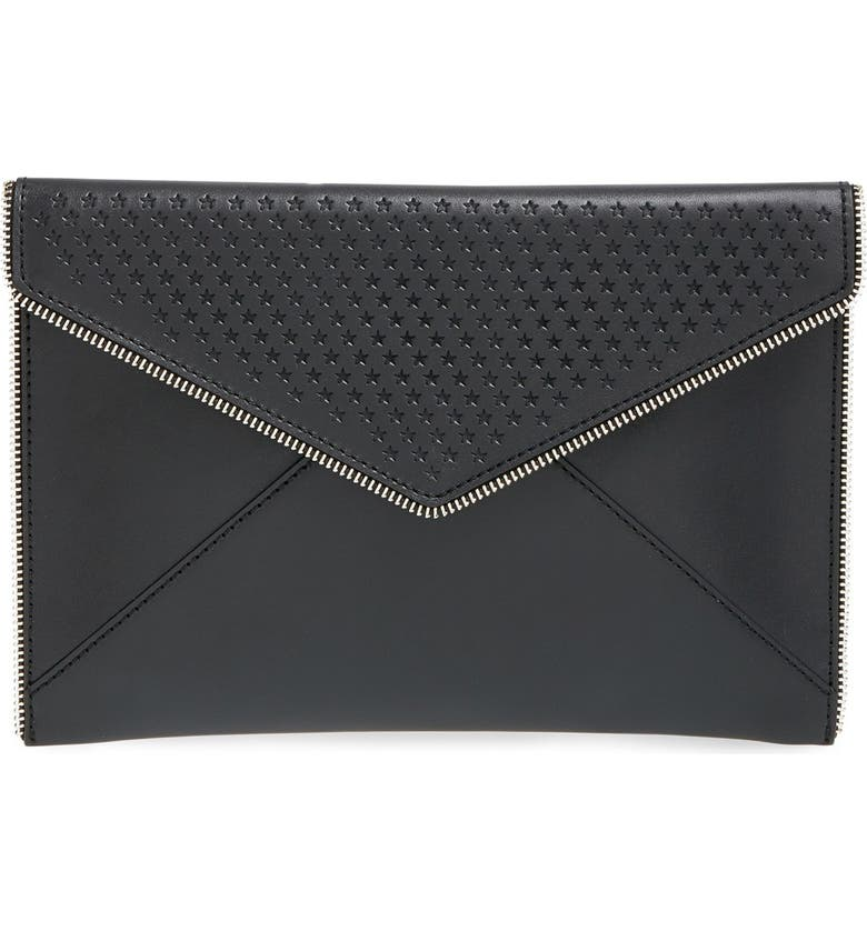 REBECCA MINKOFF 'Leo' Star Perforated Leather Envelope Clutch, Main, color, 001