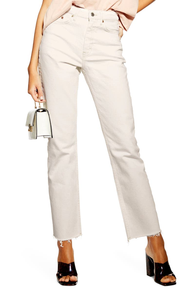 TOPSHOP Straight Leg Raw Hem Jeans, Main, color, WHITE