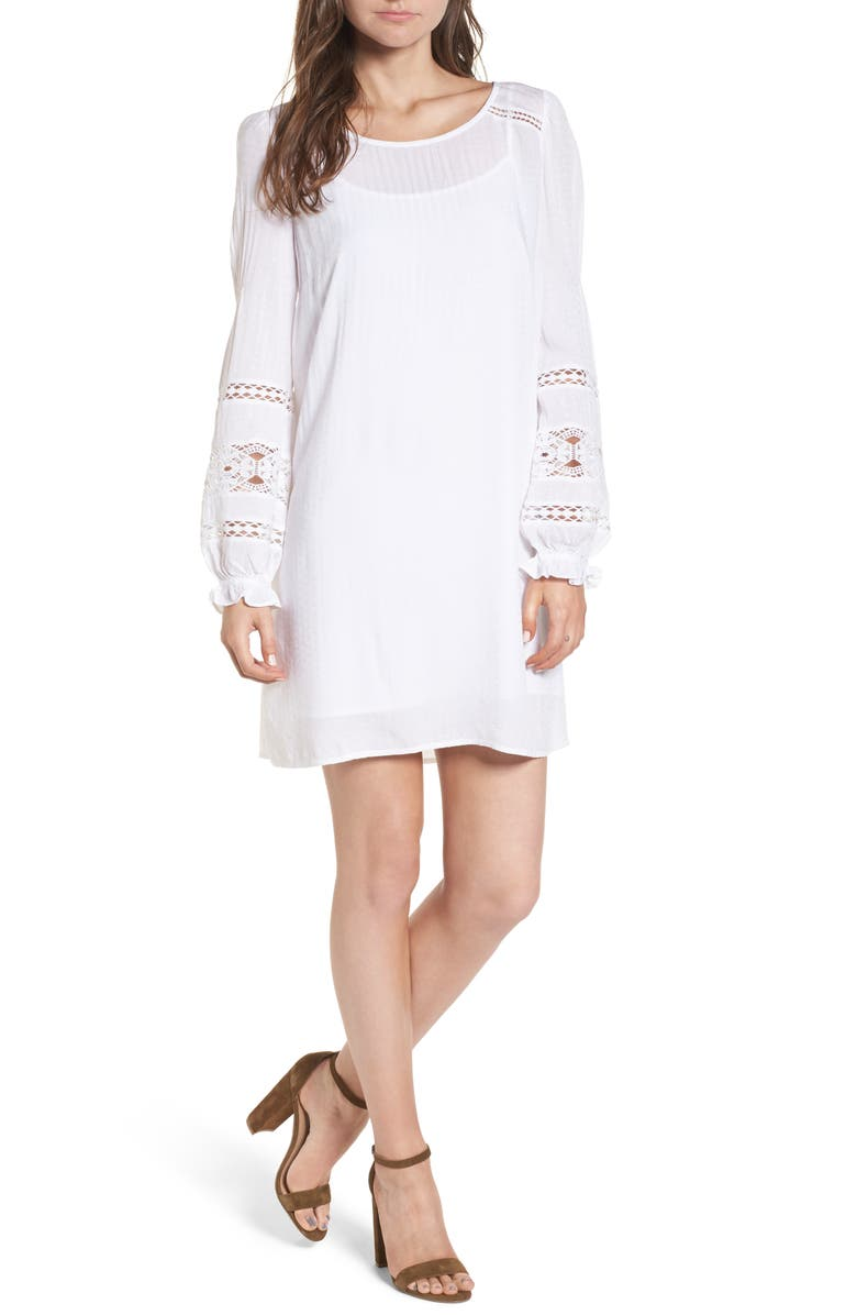 HINGE Lace Trim Puff Sleeve Shift Dress, Main, color, 100