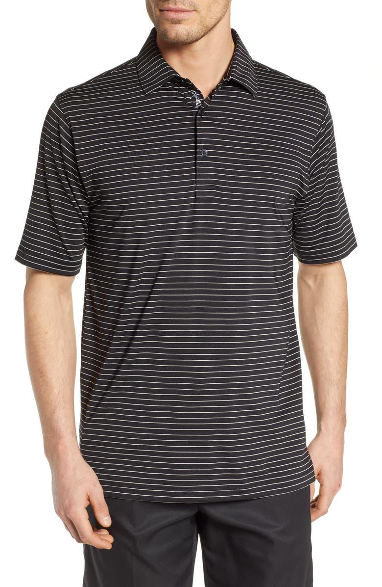 BOBBY JONES Regular Fit Performance Stripe Polo, Main, color, BLACK