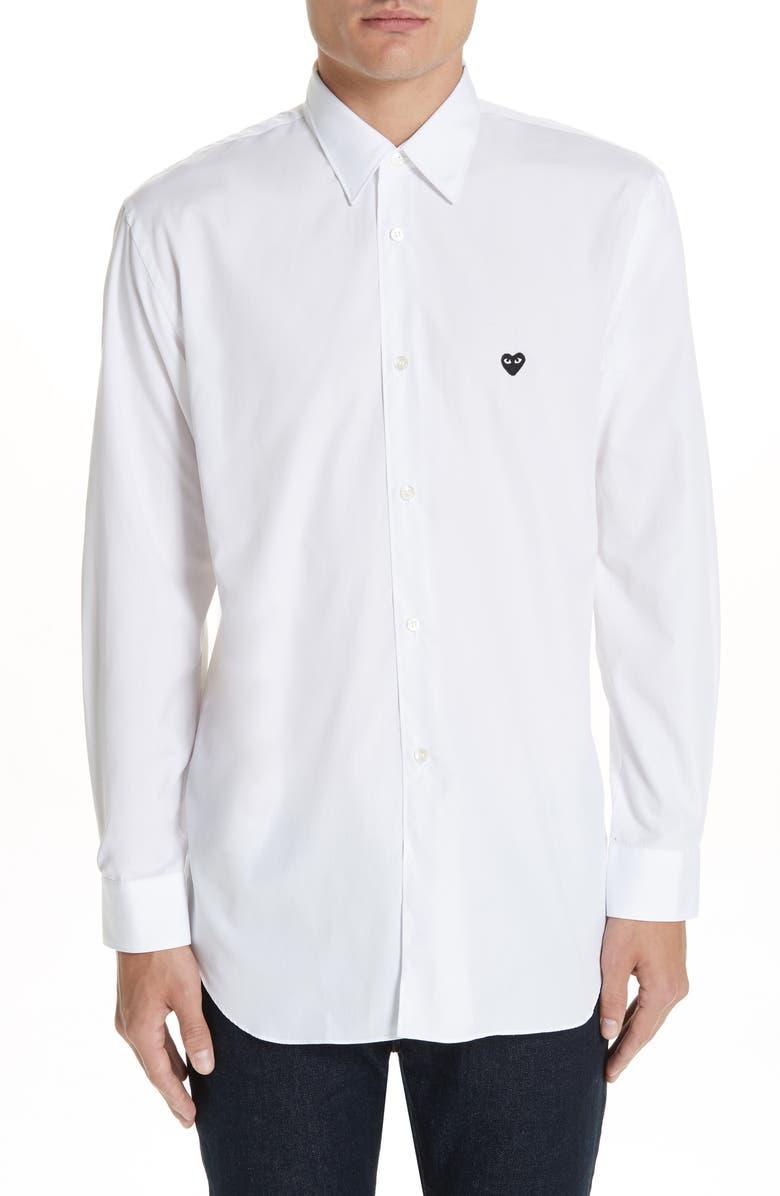 COMME DES GARÇONS PLAY Appliqué Oxford Shirt, Main, color, WHITE