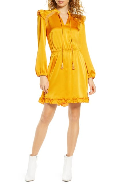 Image of Fraiche By J Tie Neck Long Sleeve Satin Dress