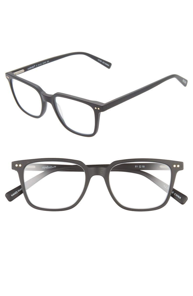 EYEBOBS C-Suite 51mm Reading Glasses, Main, color, BLACK