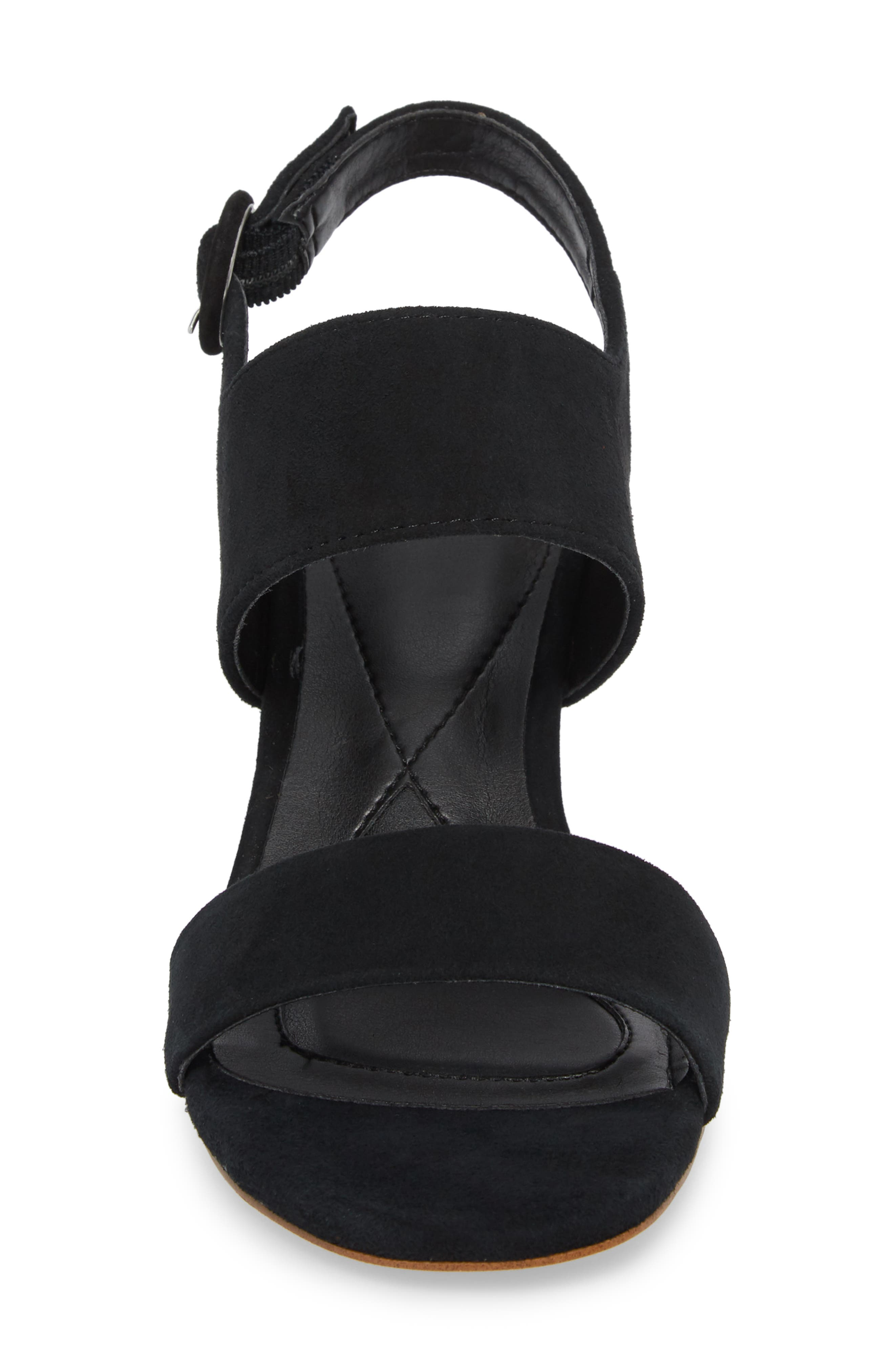 ,                             Isola Landra Block Heel Sandal,                             Alternate thumbnail 4, color,                             BLACK SUEDE