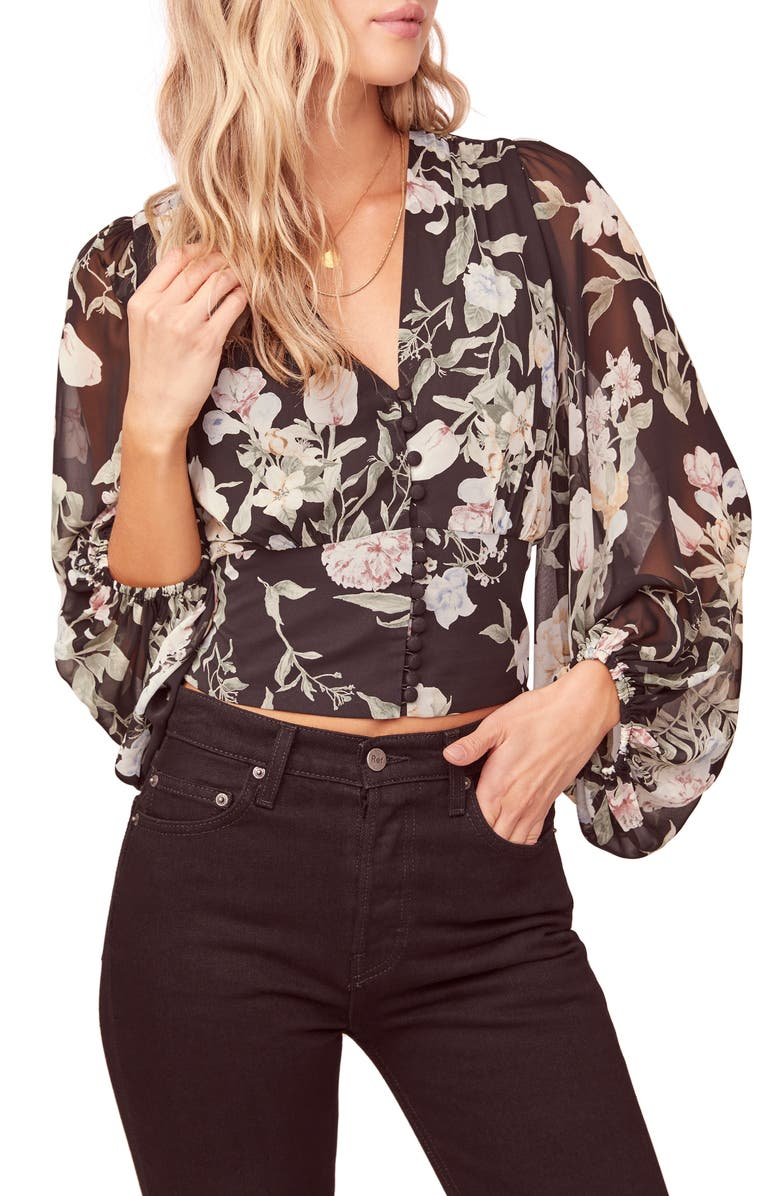 Floral Print Blouson Sleeve Top by Astr The Label