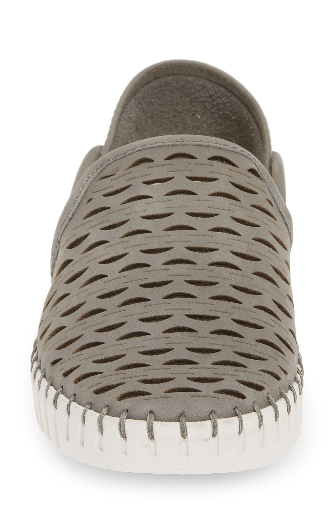 ,                             Janelle Perforated Slip-On,                             Alternate thumbnail 4, color,                             GREY NUBUCK LEATHER
