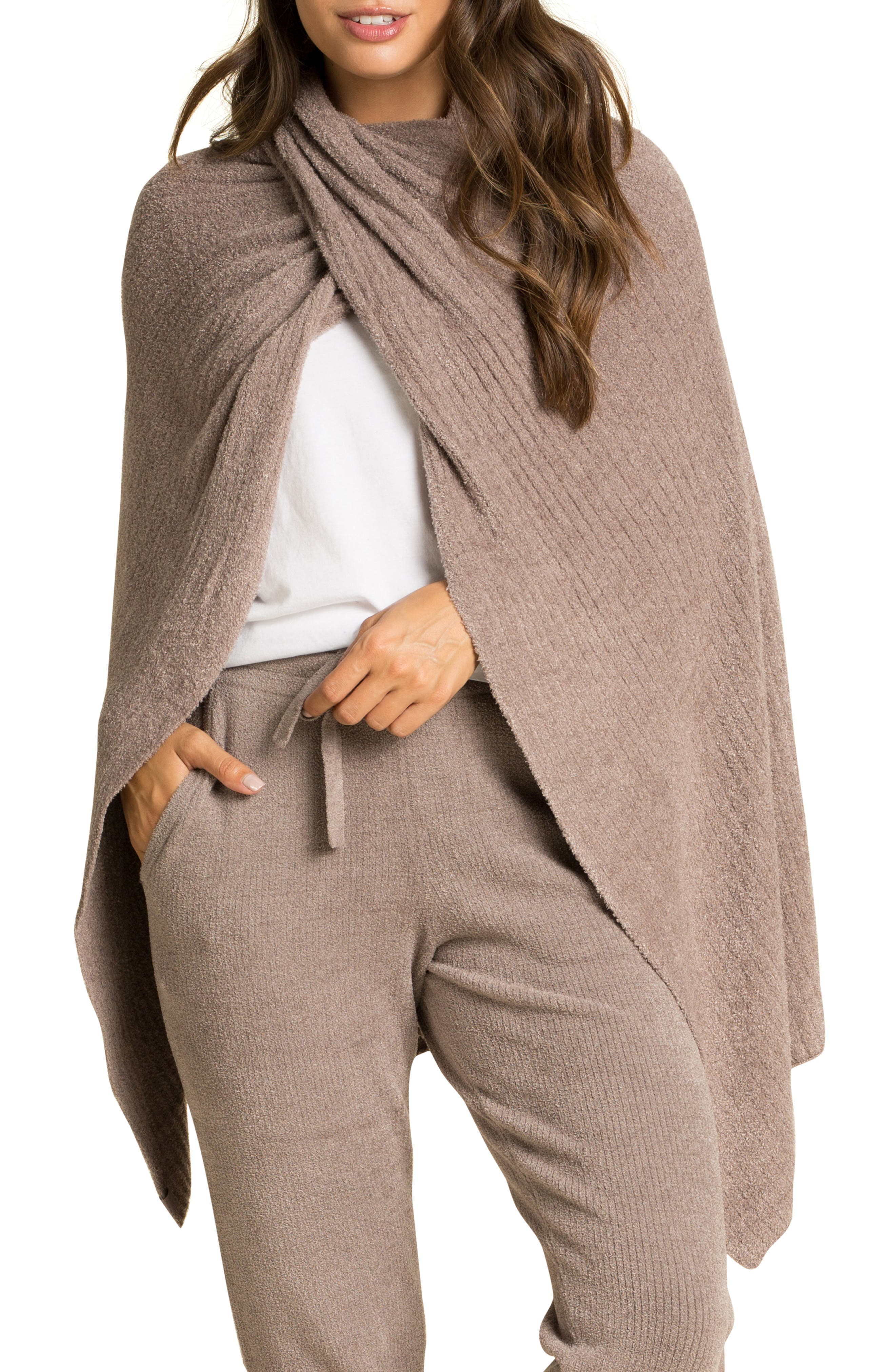 Barefoot Dreams(R) CozyChic Lite(R) Ribbed Travel Wrap in Driftwood at Nordstrom
