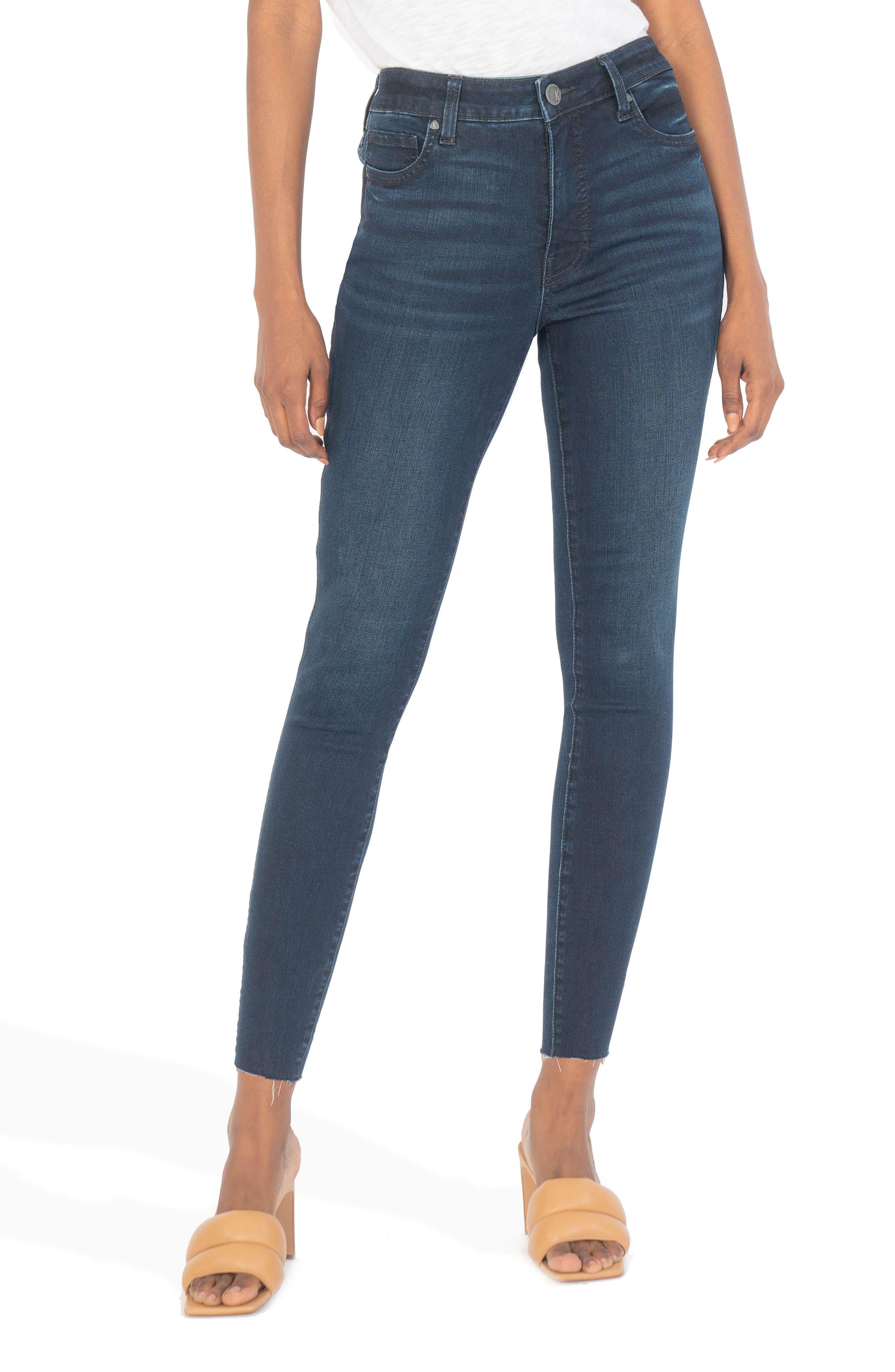 Donna Fab Ab High Waist Raw Hem Ankle Skinny Jeans