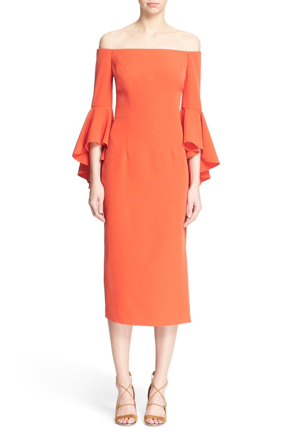 ,                             Selena Off the Shoulder Midi Dress,                             Main thumbnail 56, color,                             803