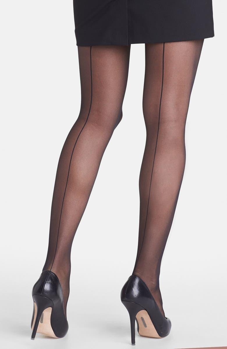 NORDSTROM Back Seam Pantyhose, Main, color, Black