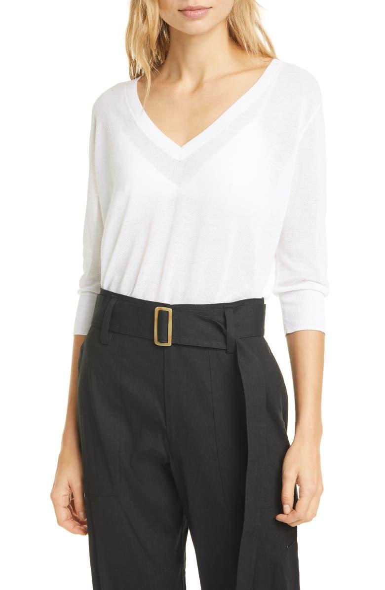 VINCE V-Neck Sweater, Main, color, OPTIC WHITE