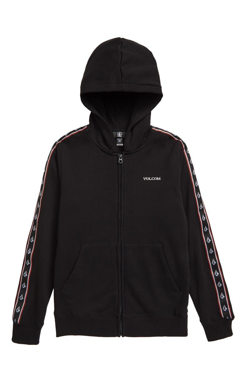VOLCOM Banes Zip Hoodie, Main, color, BLACK