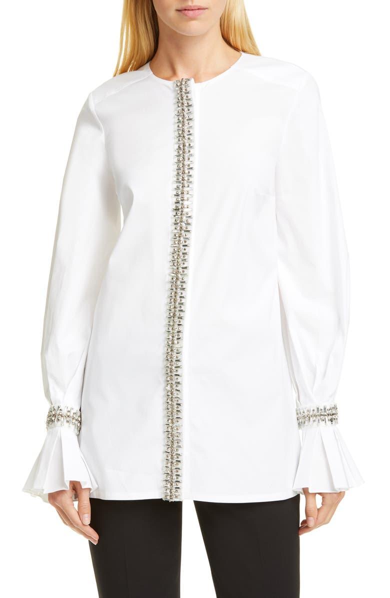 CAROLINA HERRERA Embellished Puff Sleeve Tunic Top, Main, color, WHITE