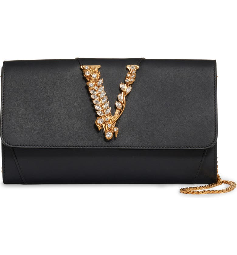 VERSACE FIRST LINE Virtus Leather Clutch, Main, color, NERO/ ORO TRIBUTE