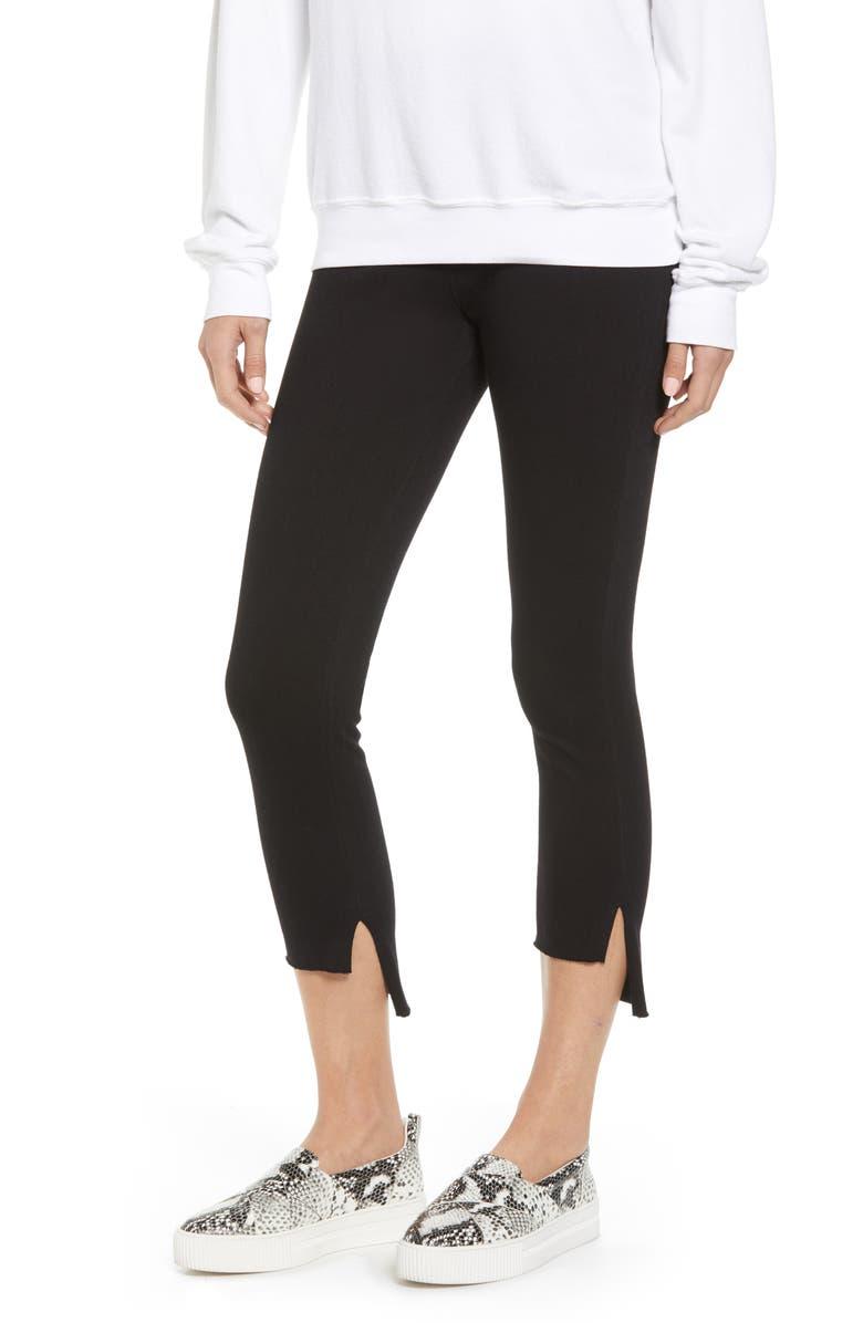 LYSSÉ Stagger High Waist Raw Step Hem Denim Leggings, Main, color, BLACK