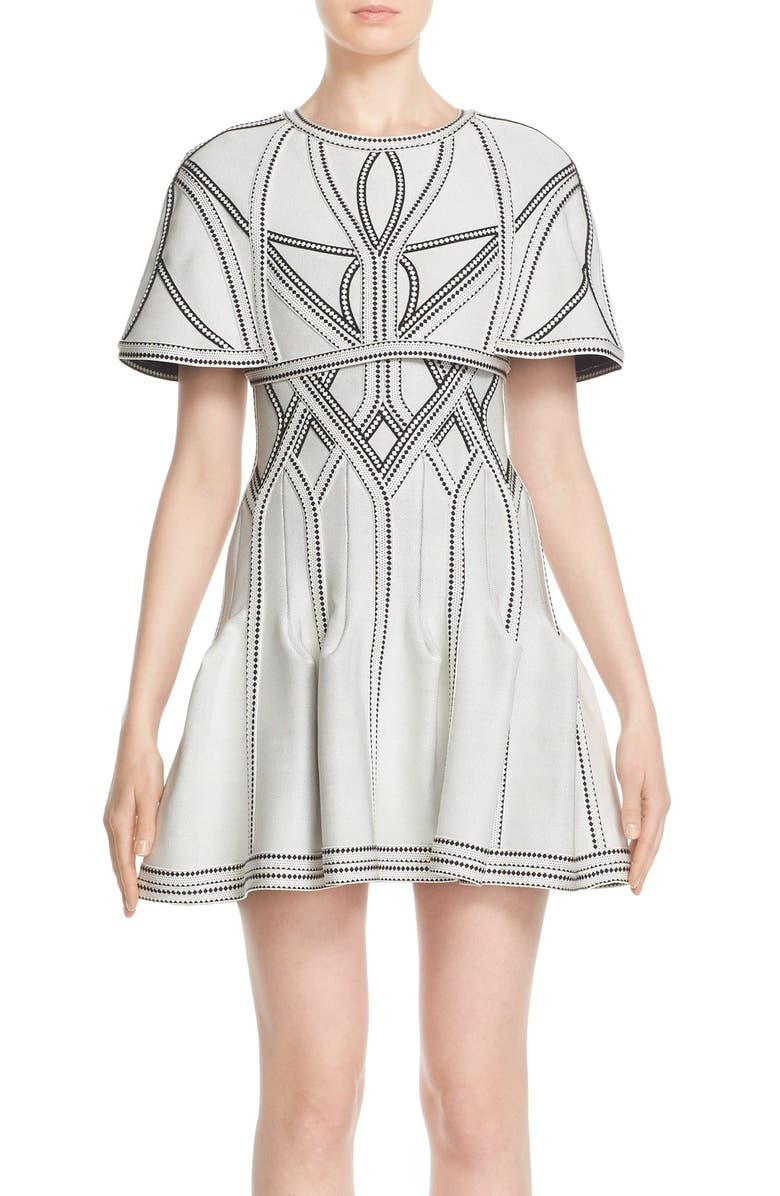 HERVE LEGER 'Maya' Jacquard Cape Jacket, Main, color, 138