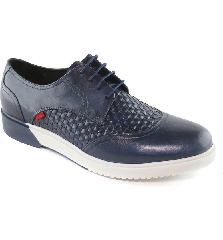 MARC JOSEPH NEW YORK Bridge Street Woven Sneaker, Main, color, NAVY LEATHER