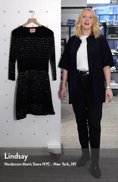 scallop stripe shine wool blend sweater dress, sales video thumbnail