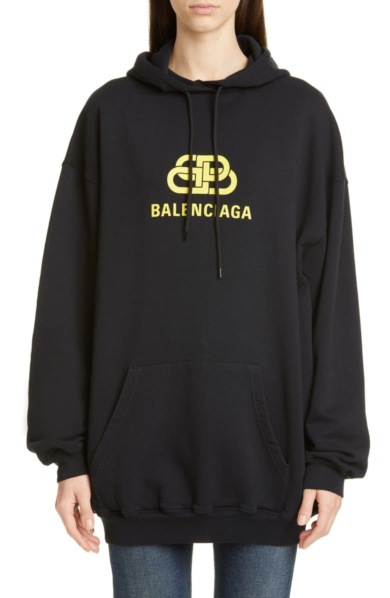BALENCIAGA BB Logo Oversize Hoodie, Main, color, BLACK/ YELLOW