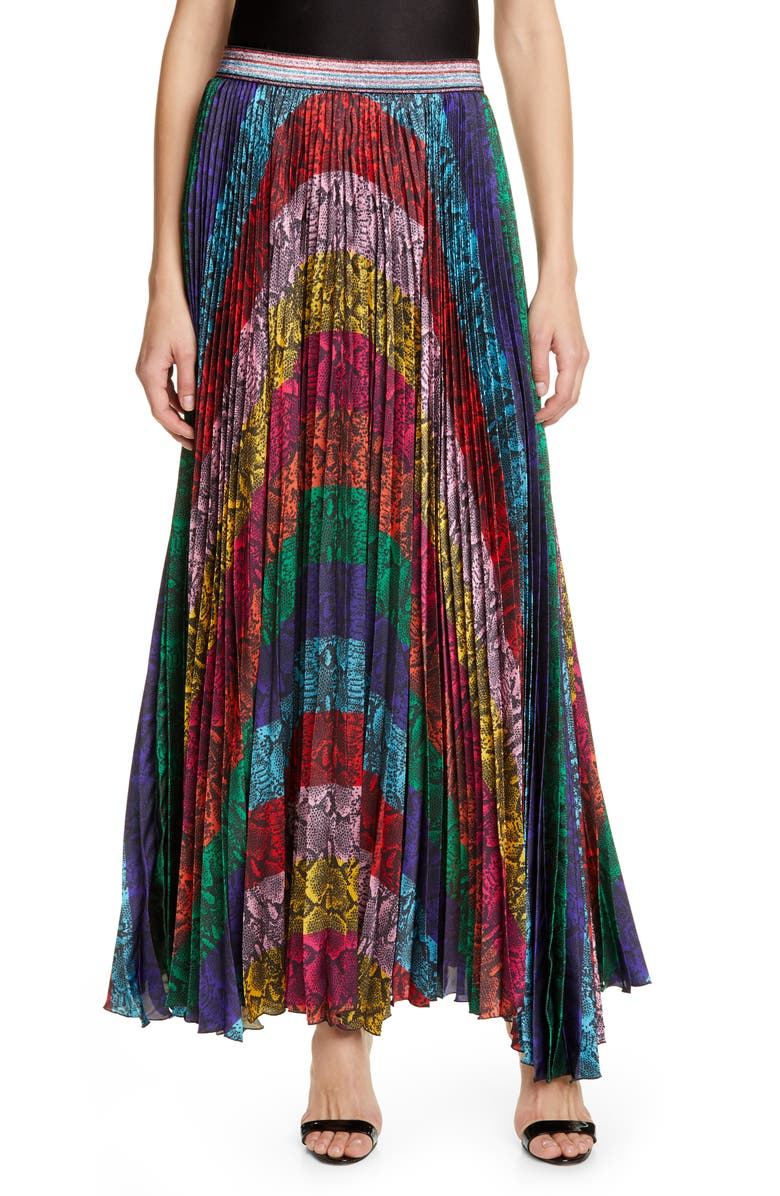 ALICE + OLIVIA Katz Sunburst Snakeskin Print Pleated Maxi Skirt, Main, color, RAINBOW SNAKE STRIPE