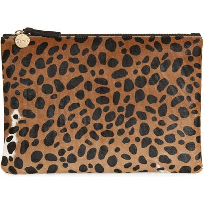Clare V. Leopard Print Genuine Calf Hair Clutch - Brown