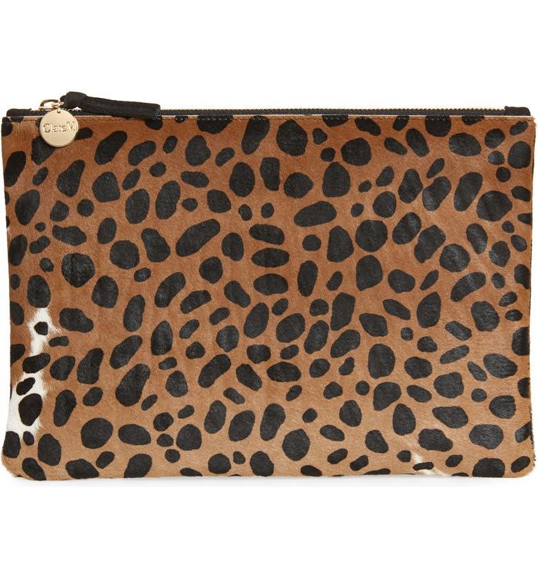 CLARE V. Leopard Print Genuine Calf Hair Clutch, Main, color, 201