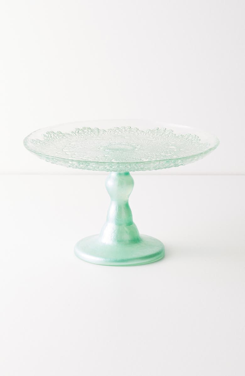 ANTHROPOLOGIE Metallic Lace Cake Stand, Main, color, MINT