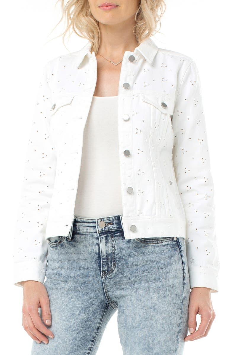 LIVERPOOL Denim Trucker Jacket, Main, color, BRIGHT WHITE