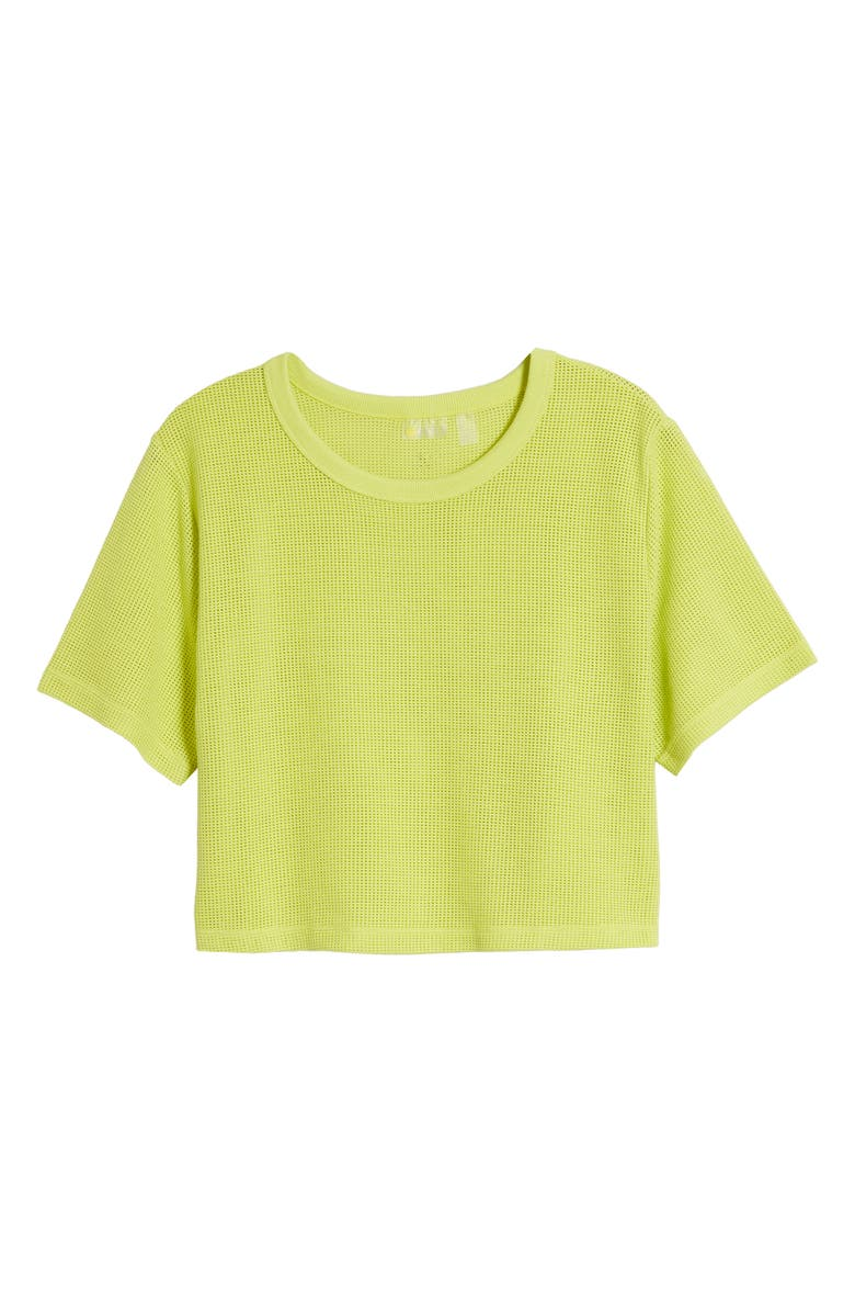 ZELLA Mesh Around Crop Top, Main, color, GREEN BLAZE