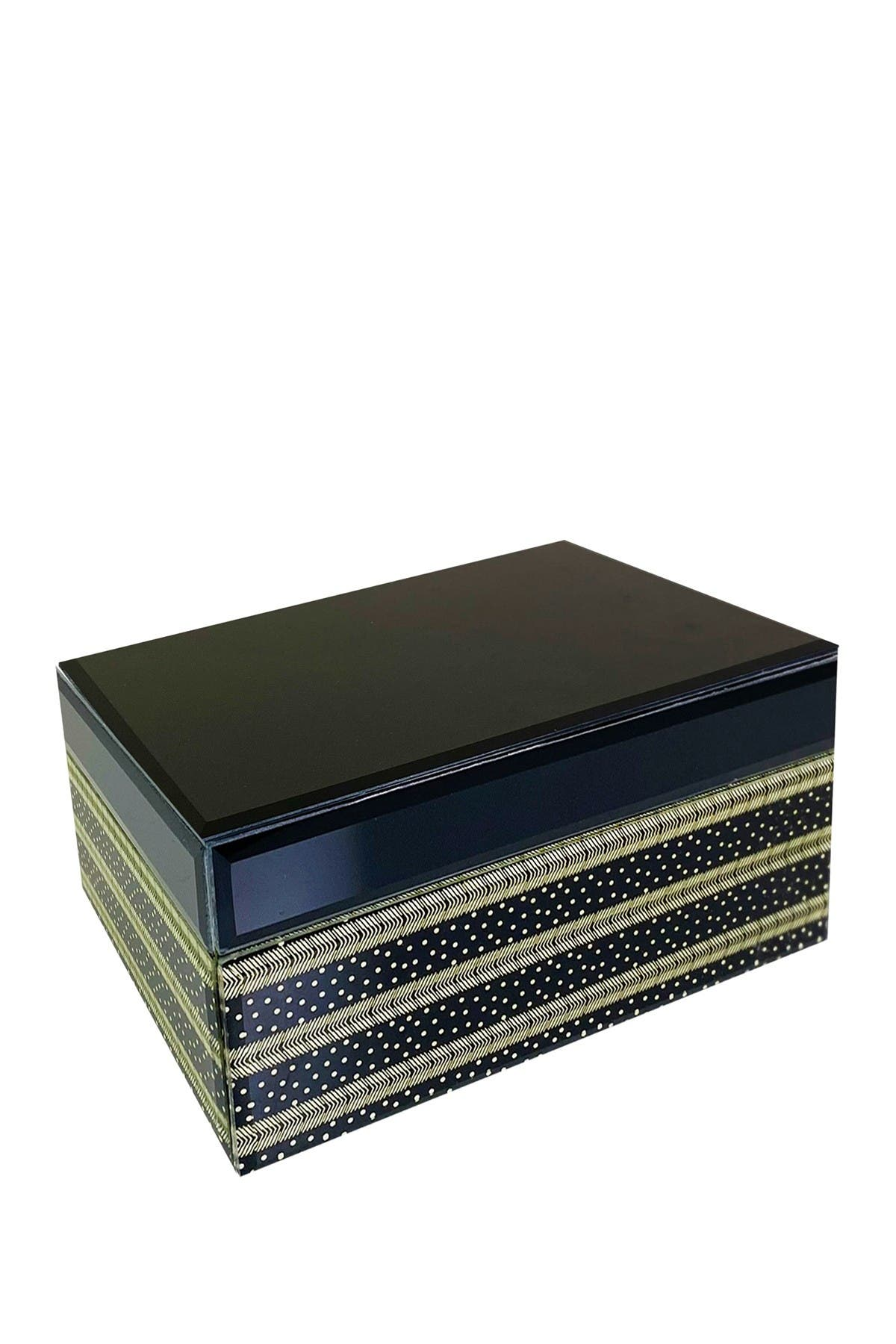 Image of Trina Turk Black Stripes Dot Mirror Accessories Box