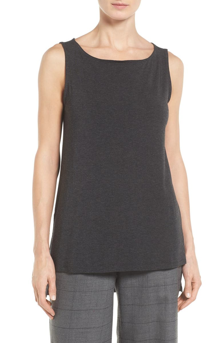 EILEEN FISHER Stretch Tencel<sup>®</sup> Jersey Tank, Main, color, 002