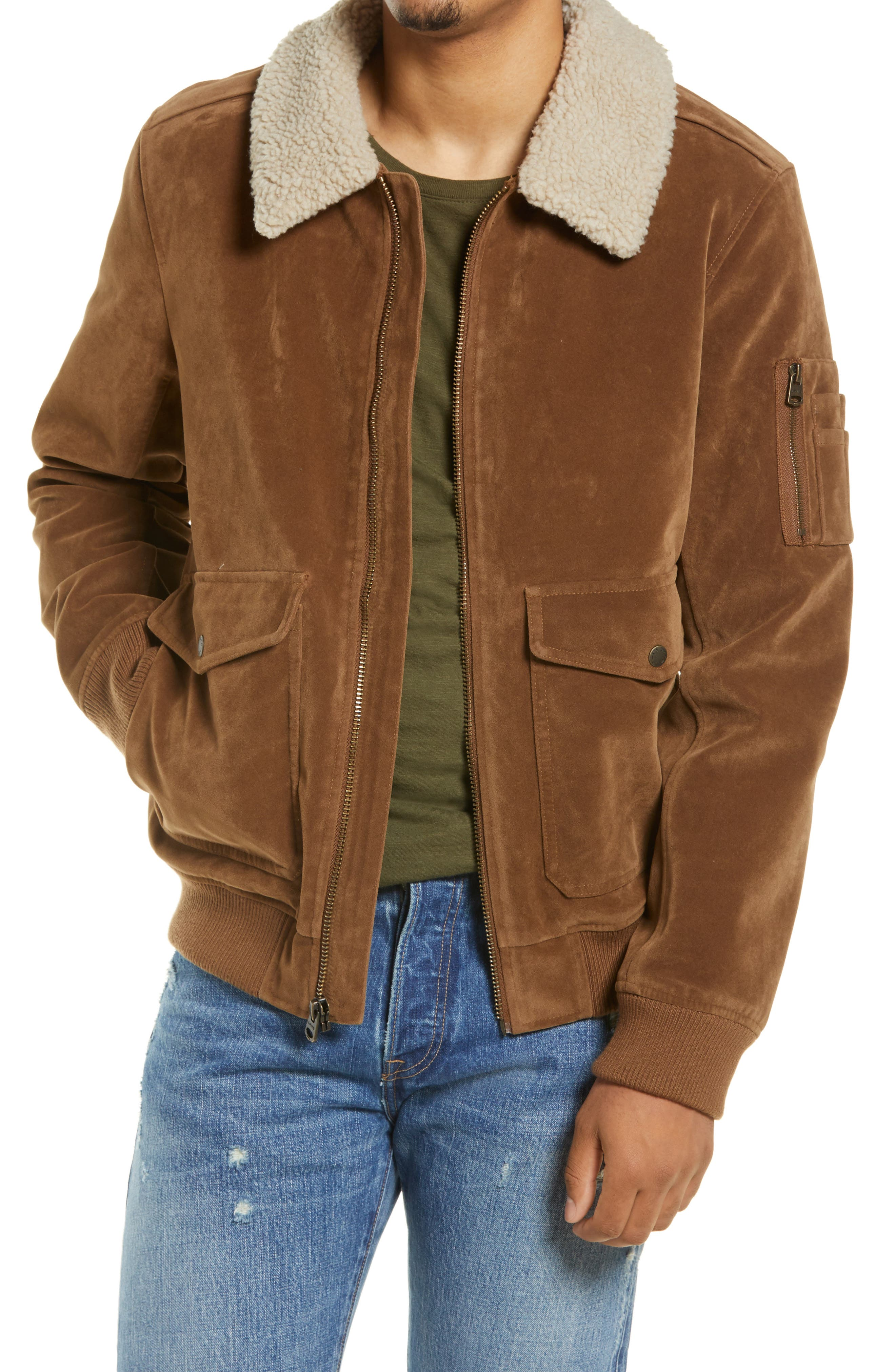 70s Jackets, Furs, Vests, Ponchos Mens Levis Faux Suede Aviator Bomber Jacket With Removable Faux Shearling Collar Size Large - Brown $200.00 AT vintagedancer.com