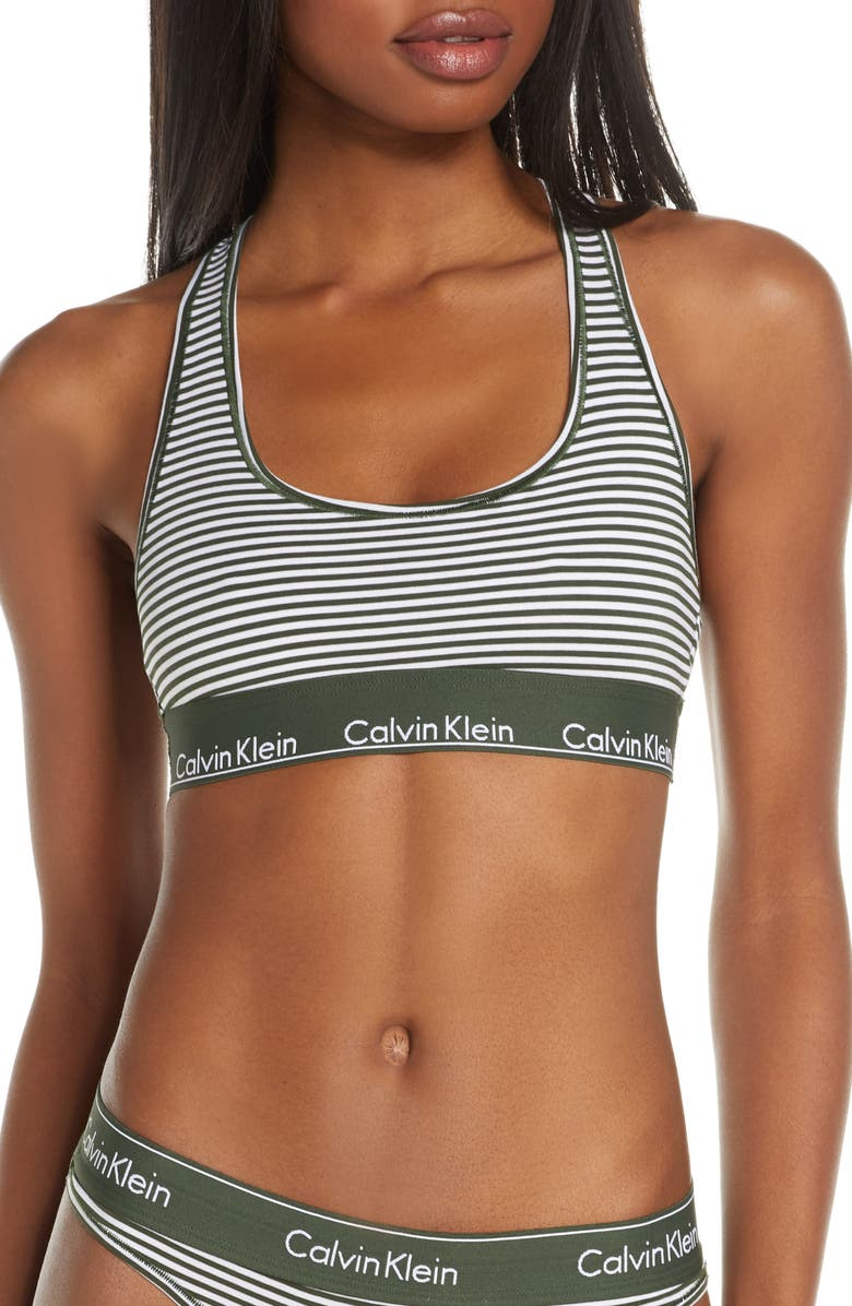 CALVIN KLEIN Modern Cotton Collection Cotton Blend Racerback Bralette, Main, color, 358