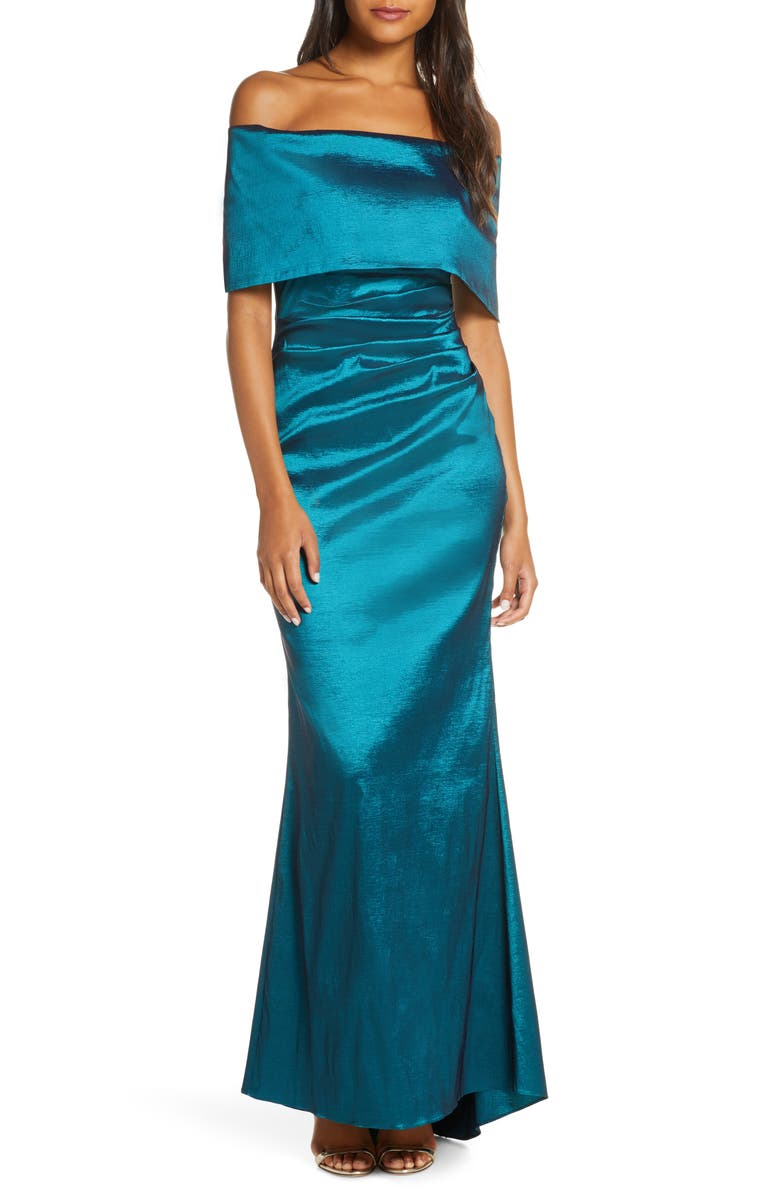 VINCE CAMUTO Off the Shoulder Taffeta Gown, Main, color, TEAL