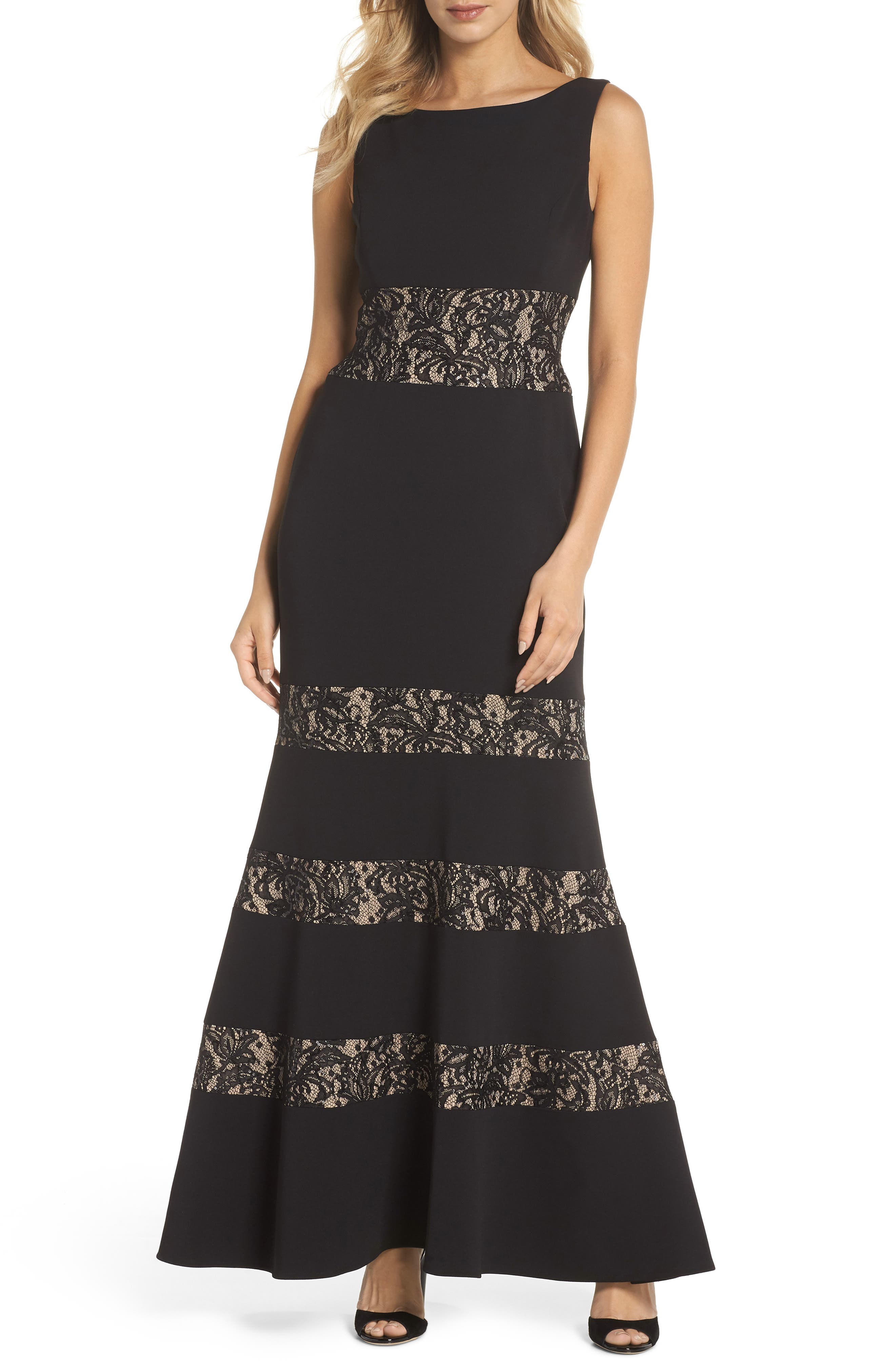 Vince Camuto Lace Panel Trumpet Gown, Black