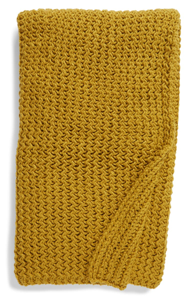 NORDSTROM Ripple Knit Throw Blanket, Main, color, OLIVE BRONZE