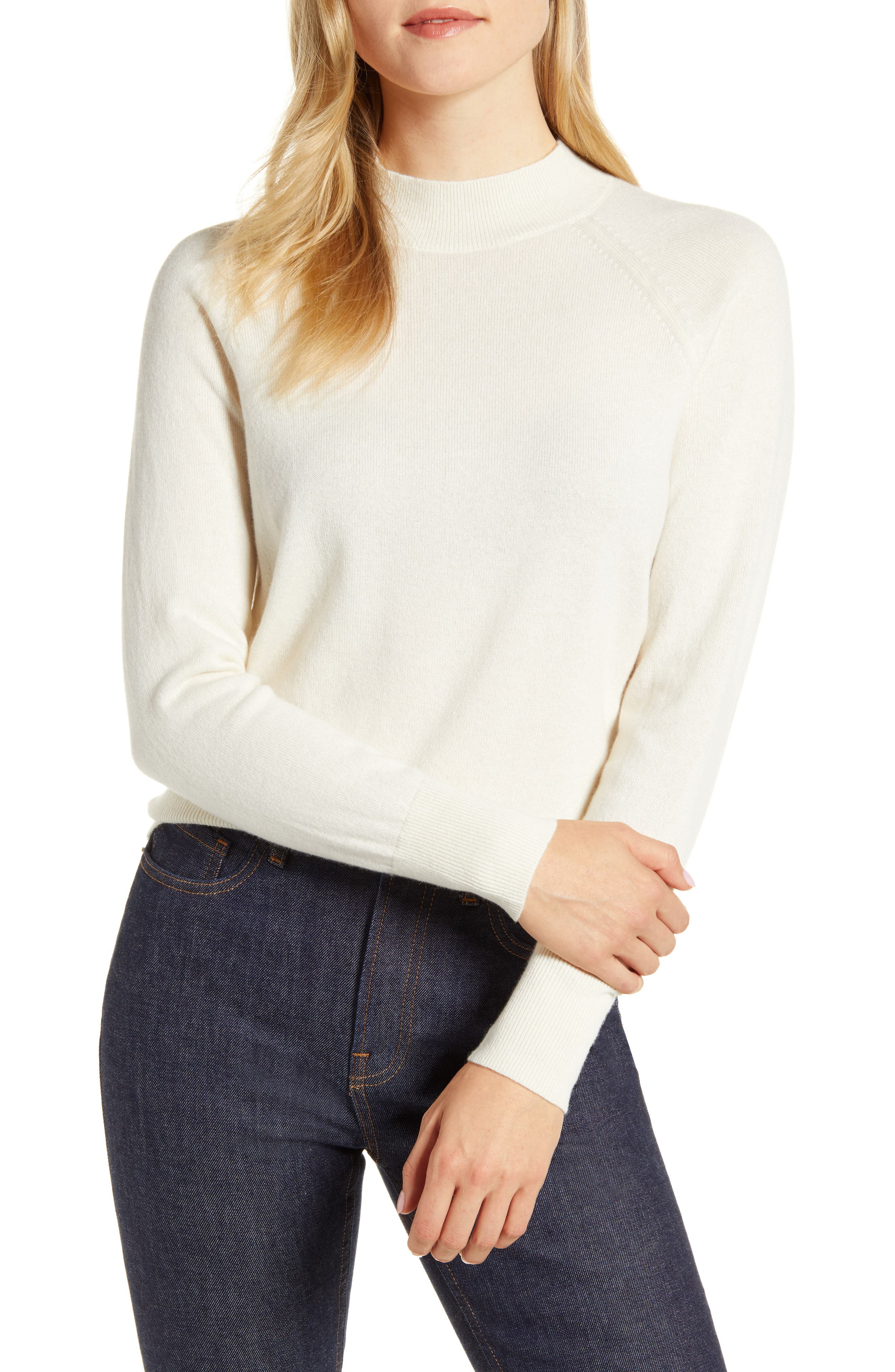 Image of EVERLANE The Cashmere Raglan Mock Neck Sweater