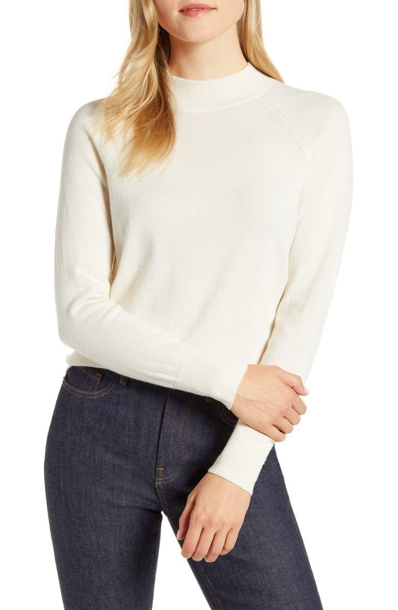 EVERLANE The Cashmere Raglan Mock Neck Sweater, Main, color, WHITE