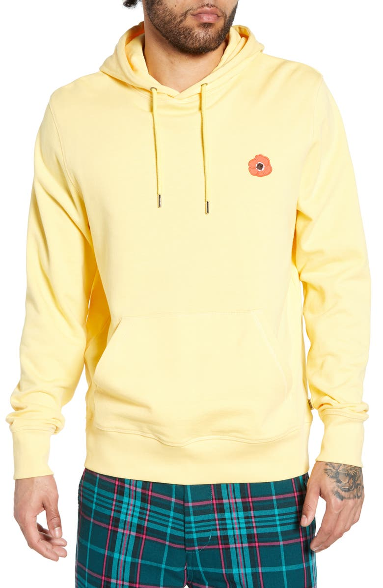 WESC Mike Poppy Appliqué Hooded Sweatshirt, Main, color, SUNDAY YELLOW