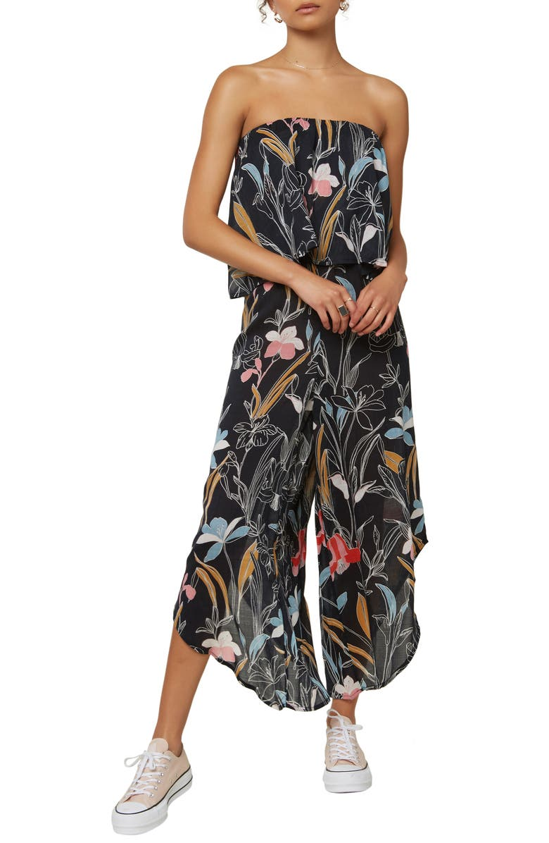 O'NEILL Floral Print Strapless Crop Jumpsuit, Main, color, BLACK