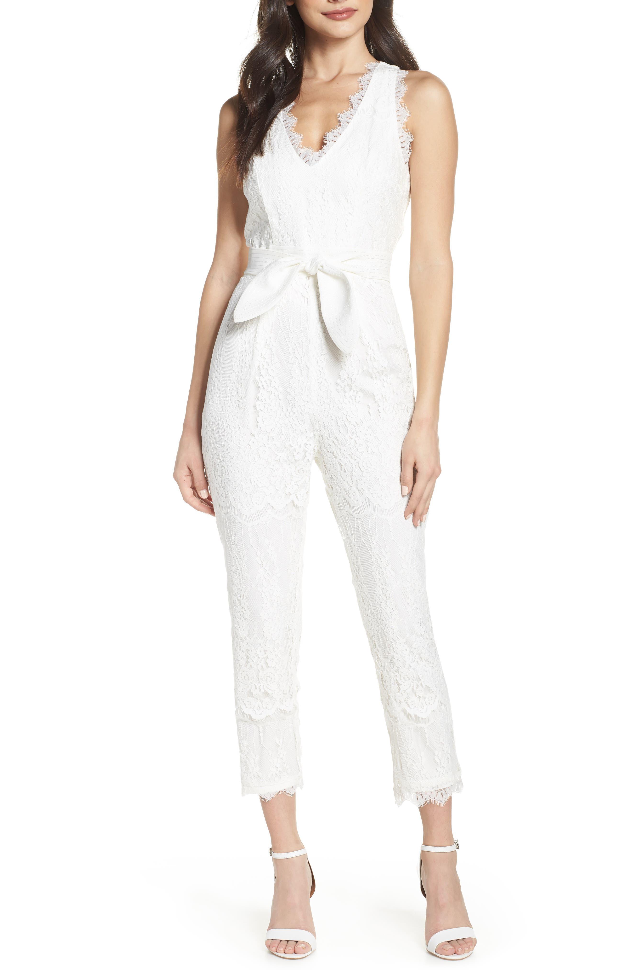 Scallop Trim Lace Jumpsuit, Main, color, OFF WHITE