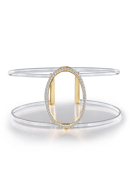 Image of LaFonn Milano Platinum & Gold Plated Sterling Silver Pave Simulated Diamond Oval Open Cuff Bracelet