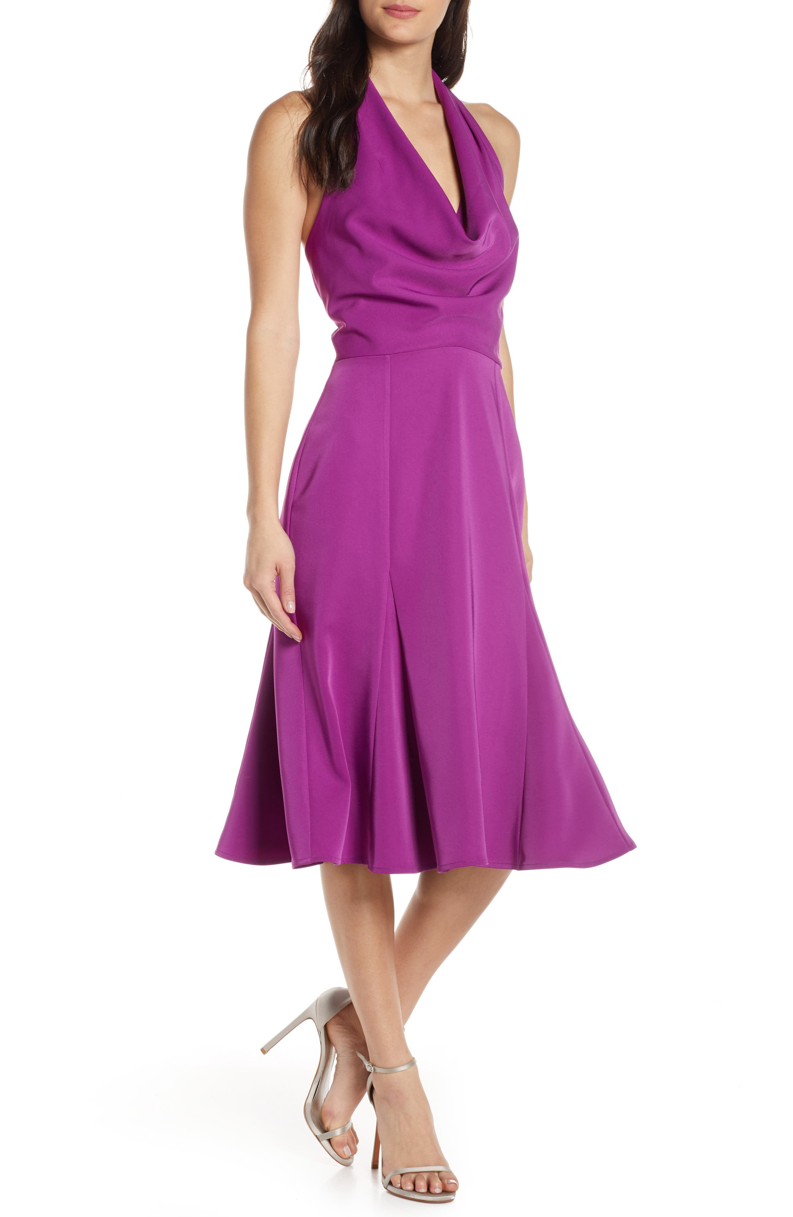 Harlyn Halter Fit & Flare Dress, Purple