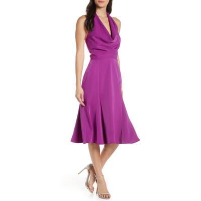 Harlyn Halter Fit & Flare Dress, Purple
