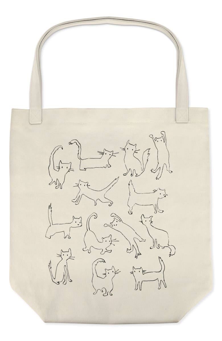 FRINGE STUDIO Funny Cat Canvas Tote, Main, color, 200
