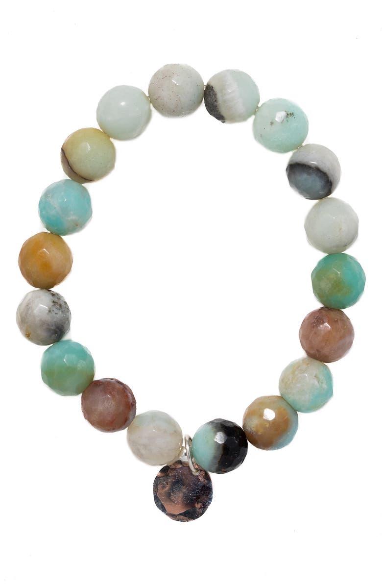 TERESSA LANE JEWELRY Stone Stretch Bracelet, Main, color, AMAZONITE